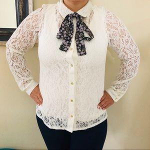 LC Lauren Conrad White Lace Button Down Shirt